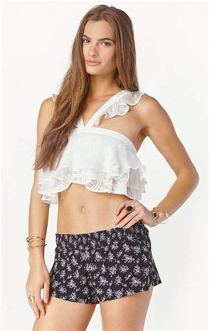 Crop Tops Woman Young Neck Half Frilly
