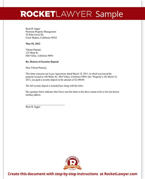 requirements document template security deposit return letter template landord return