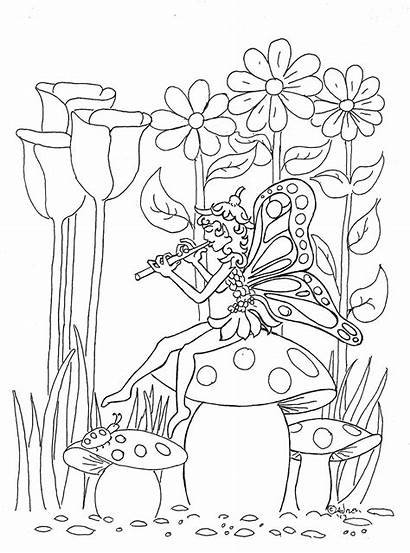 Fairy Coloring Garden Pages Pixie Fairies Adults