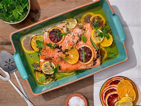 slow roasted citrus salmon  herb salad recipe nyt