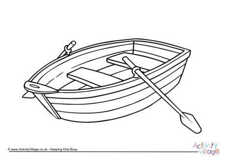 Outline Of Boat To Colour by Rowing Boat Colouring Page