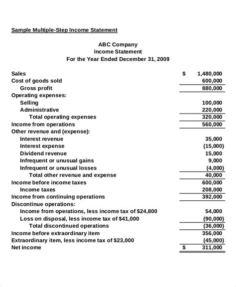 income statement template   excel  word