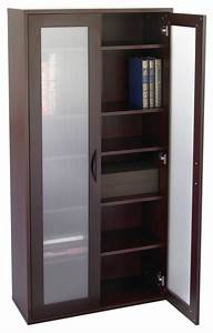 Storage Bookcase with Glass Doors Tall - Mahogany - Modern ...