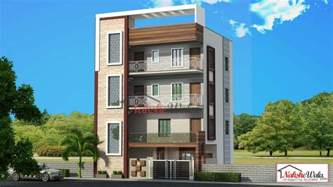 affordable house elevation  triple storey home elevation sqft triplex house design