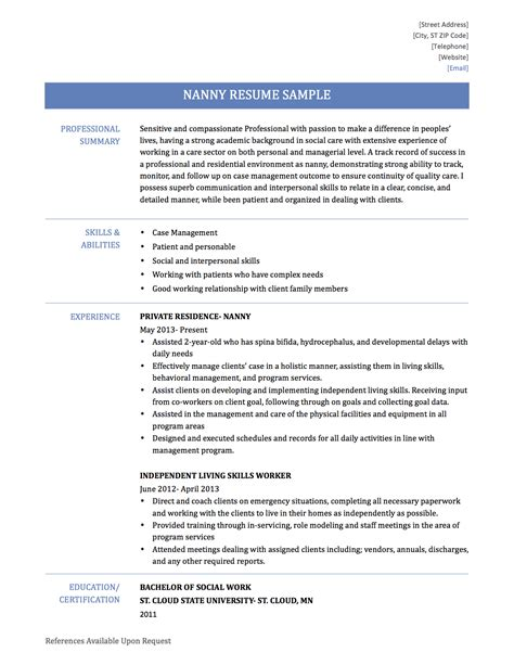 Nanny Position On Resume by 100 Nanny Description Resume Sle Resume Business Objects Developer Sap Functional
