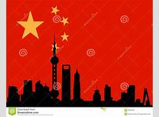 Shanghai Skyline With Flag Of China Royalty Free Stock