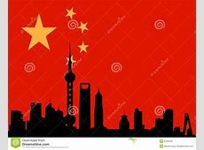 Shanghai Skyline With Flag Of China Stock Vector Image