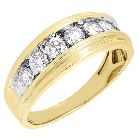 mens yellow gold  stone diamond engagement ring