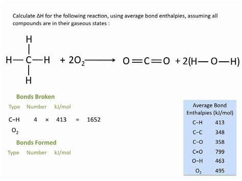 enthalpies  reactions  average bond enthalpies