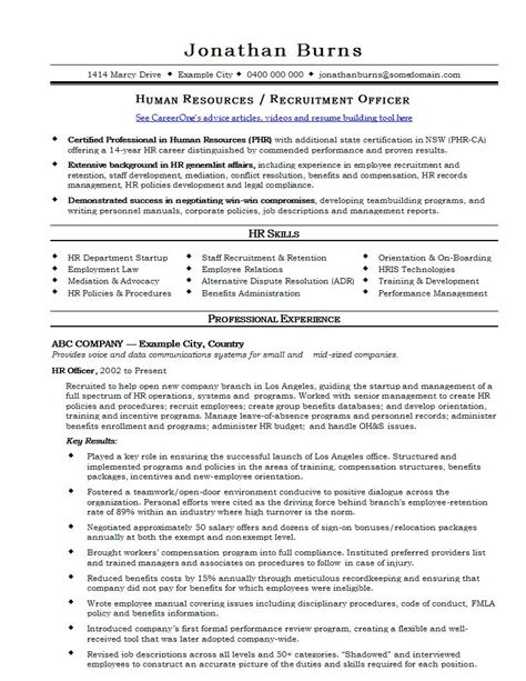 Hr Resume Format For Experienced by Hr Cv Template