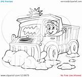 Snow Clipart Plough Driver Happy Waving Outlined Illustration Royalty Vector Visekart Kid sketch template