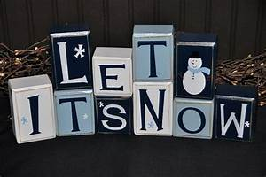 let it snow snowman wooden primitive letter block sign With let it snow wooden letters