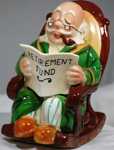 Vintage Lefton Ceramic Grandpa On Rocker Retirement Fund