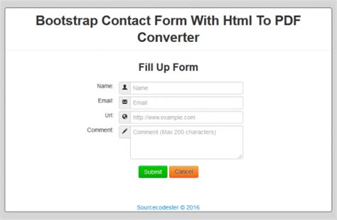 bootstrap contact form with html to pdf converter free
