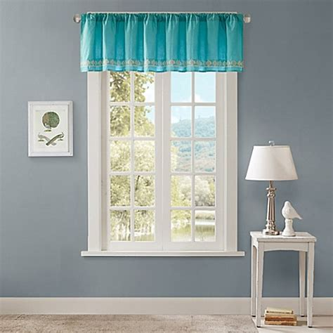 teal window treatments buy madison park nisha window valance in teal from bed bath beyond