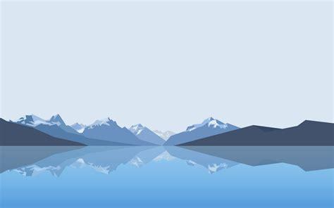 lake mountain reflection minimalism wallpapers hd
