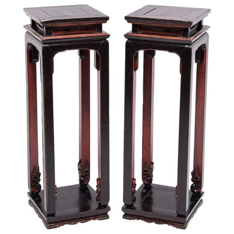 red and black table ls pair of chinese tall red and black display tables for sale
