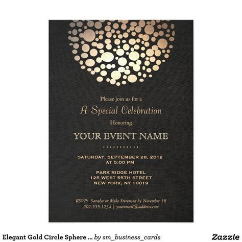 Elegant Gold Circle Sphere Black Linen Look Formal 5x7