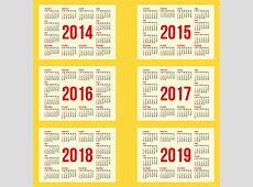 Calendar 2014 to Calendar 2019 Vector Free Vector