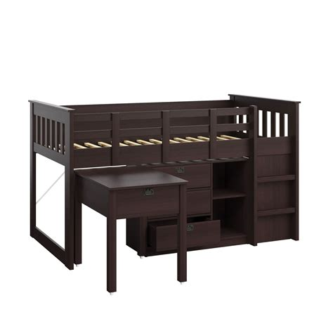 bed with desk and storage madison rich espresso single twin loft bed with desk and