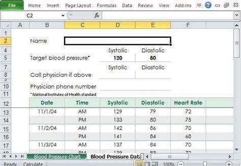 blood pressure tracker template  excel blood
