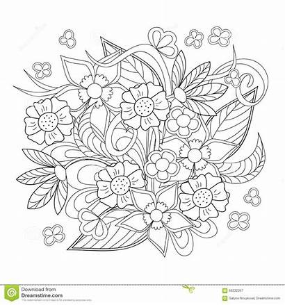 Doodle Flowers Hand Drawn Coloring Adult Children