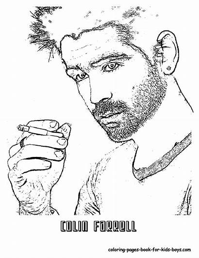 Coloring Pages Hollywood Colin Farrell Colouring Yescoloring