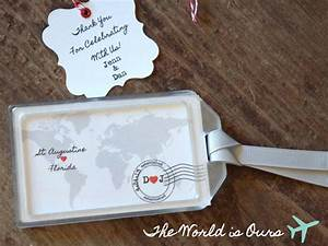 Wedding favors the world is ours luggage tag by for Wedding favor luggage tags