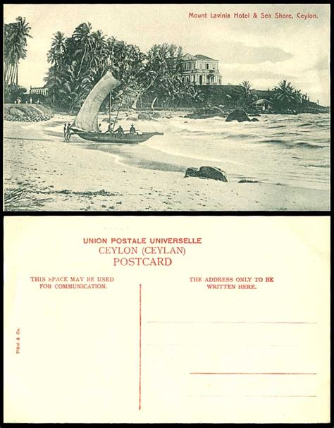 ceylon  postcard mount lavinia hotel sea shore