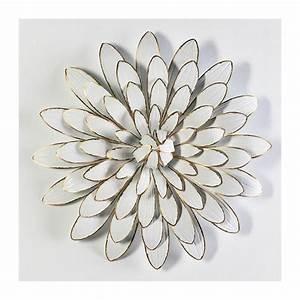 Deco Metal Mural : decoratiune perete din metal alb auriu flower 80cm decoratiuni perete ~ Nature-et-papiers.com Idées de Décoration