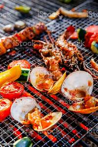 Summer Grilled Seafood Bbq Stock Photo - Download Image Now - iStock