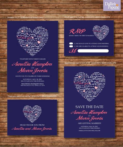 wedding invitation printables coral and navy blue