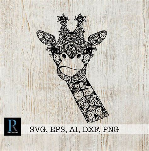 Mandala halloween giraffe svg, giraffe witch hat svg, zentangle giraffe svg. RomanDigitalArt #etsy shop: Mandala Giraffe SVG, Zentangle ...