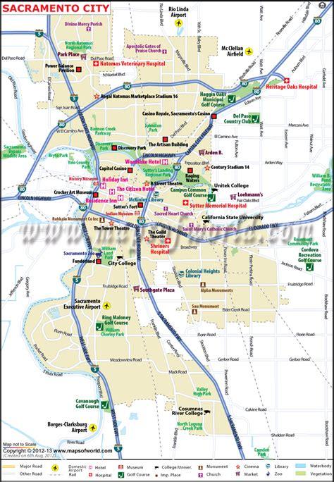 sacramento map california maps usa capital county area cities printable state mapsofworld san travel francisco northern