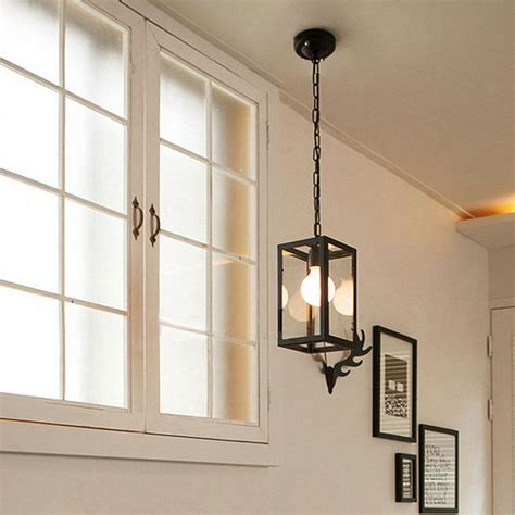 square iron frame and glass shade pendant lighting