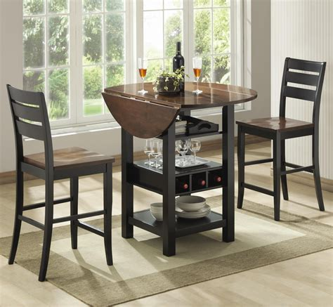 These dining sets are great for small apartments maximizing living space thanks to their reduced surface area. Ridgewood 3-Piece Drop-Leaf Counter Table Set by Bernards in 2019 | Dining table with storage ...