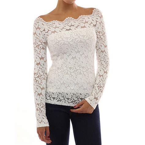 lace blouse 2015 white lace blouse slash neck ol