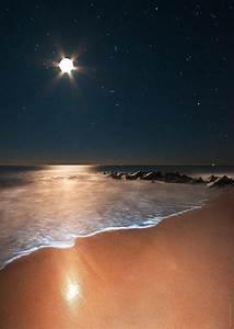 Moon beach sea sky holiday summer star mood landscape ...