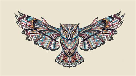 patterned flying owl drawing illustration hd wallpaper