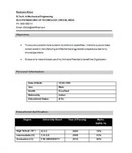 Free Resume Format For Freshers by 28 Resume Templates For Freshers Free Sles Exles
