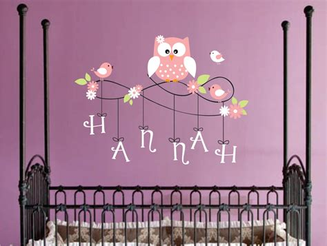 personalized name owl wall decal nursery wall by