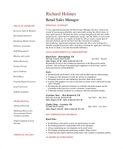keywords for retail sales resume