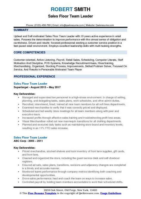 Resume For Team Leader Position by Sales Floor Team Leader Resume Sles Qwikresume