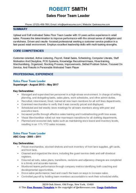 Free Resume Tem by Sales Floor Team Leader Resume Sles Qwikresume