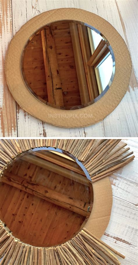 Must remember to punch edges before. Cheap & Easy DIY Stick Framed Mirror (A Rustic Modern Home Decor Idea) | Diy round mirror ...