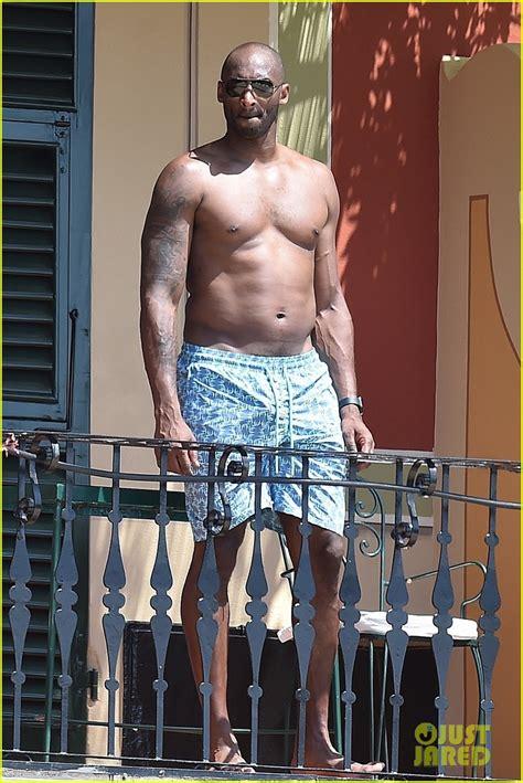 kobe bryant hangs shirtless   pool  family