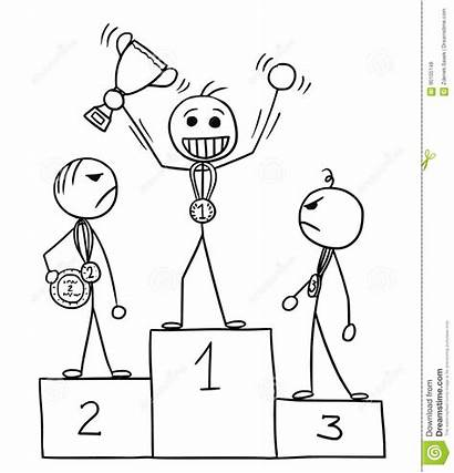 Winner Stickman Cartoon Podium Winners Losers Winnaar