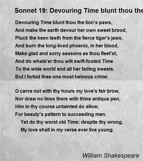 sonnet  devouring time blunt thou  lions paws poem
