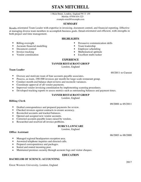 Resume For Team Leader Position by Accounting Resume Template Template Business