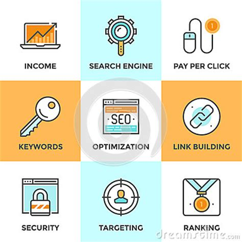 search engine ranking optimization seo and web optimization line icons set stock vector